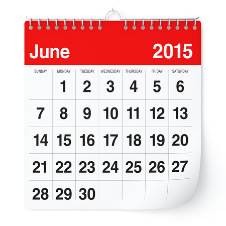 June 2015 - Calendar Stock Photo - 30620824