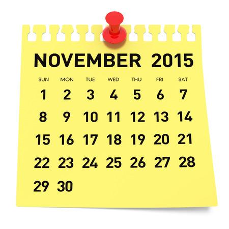 november 3d: 2015 Calendar  Isolated on White Background  3D Rendering