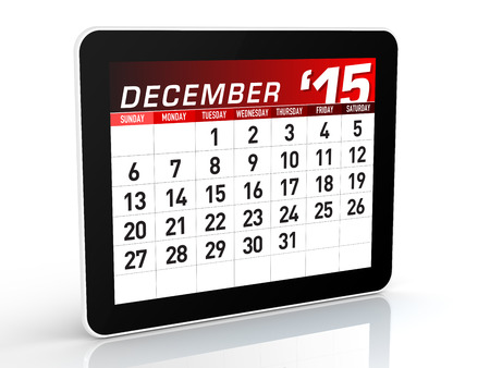 new year s eve: 2015 Calendar  Isolated on White Background  3D Rendering