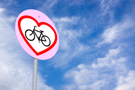 road cycling: Bycle Sign under The Blue Skies