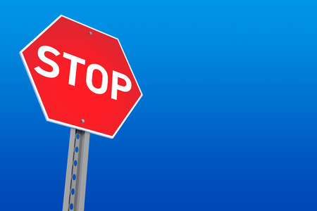 digitally generated image: Stop Sign with Blue Background  Digitally Generated Image  3D Rendering Stock Photo
