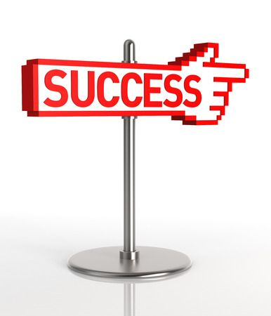 A sign pointing to the road to success  Digitally Generated Image  3D Rendering photo