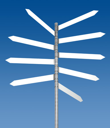 Blank signpost  Digitally Generated Image  3D Rendering 스톡 콘텐츠