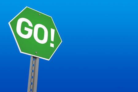 Green Go Sign with Blue Background  Digitally Generated Image  3D Rendering