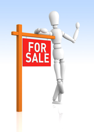 For Sale Sign  Digitally Generated Image  3D Rendering photo