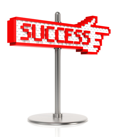 digitally generated image: A sign pointing to the road to success  Digitally Generated Image  3D Rendering