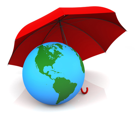 insurance themes: Isolated Earth and Red Umbrella. 3D RenderingMaps Source: http:visibleearth.nasa.govview_rec.php?id=7106
