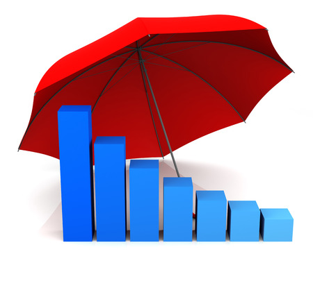 insurance themes: Isolated Bar Graph and Umbrella. 3D Rendering