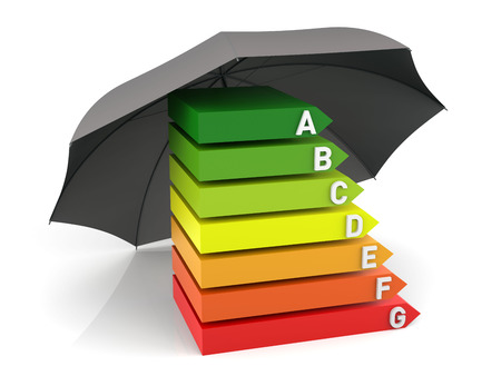 Energy Efficiency Chart with Insurance. 3D Rendering Stock Photo
