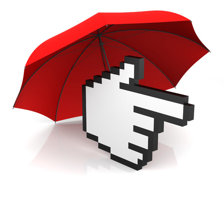 Hand Cursor with Red Umbrella. 3D Rendering photo