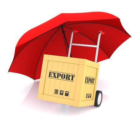hand truck: Hand Truck Export Box and Red Umbrella. 3D Rendering
