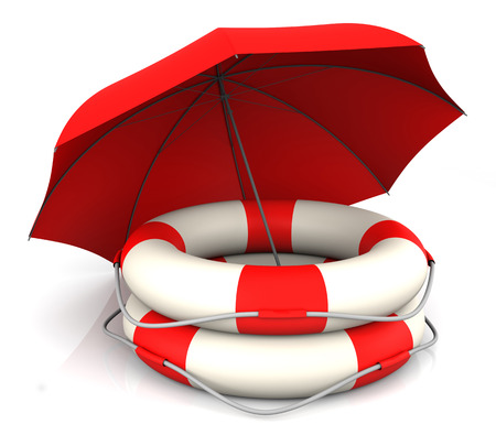 Life Belt en rode paraplu. 3D Rendering Stockfoto