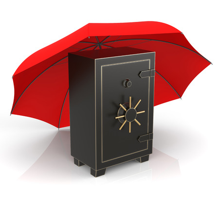 Isolated Steel Safe and Red Umbrella. 3D Rendering 免版税图像
