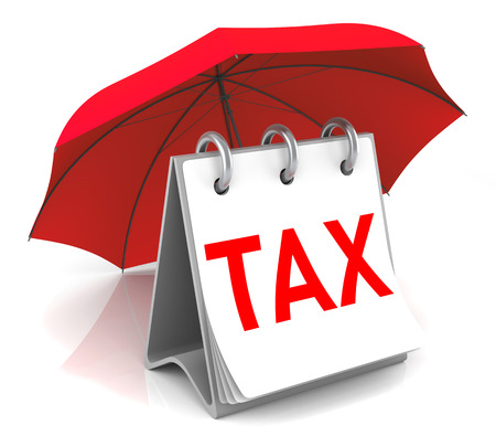 Tax Calerdar with Red Umbrella. 3D Rendering Image
