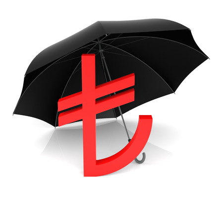 tl: TL Symbol with Red Umbrella, Isolated on a White Background