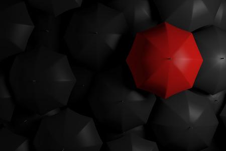 群衆は、赤い傘から立っています。