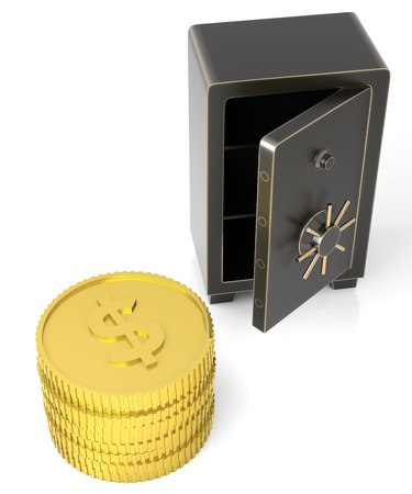 Open safe with a stack of gold $ coins. Isolated on white. photo