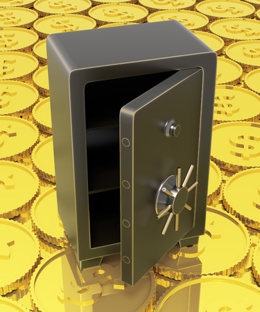excess: Open safe with a backgronud of gold $ coins. Stock Photo