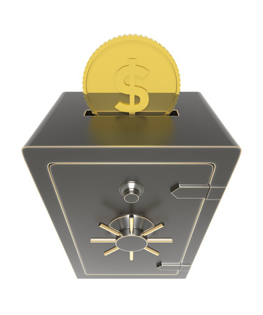 burglar alarm: Locked safe with money coins inserted. 3D rendering