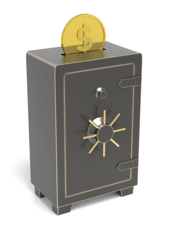 Locked safe with money coins inserted. 3D rendering
