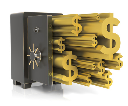 excess: Steel safe with Gold Dollar Sign. Isolated on white. High resolution 3D rendering Stock Photo