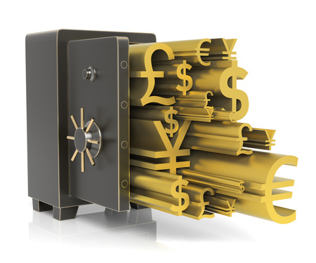 excess: Steel safe with Gold Currency Sign. Isolated on white. High resolution 3D rendering