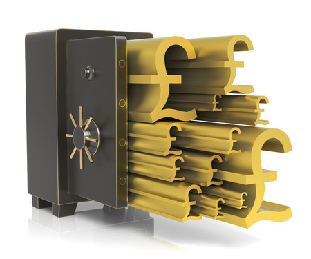 Steel safe with Gold Pound Symbol. Isolated on white. High resolution 3D rendering photo