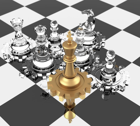 Chess King and gears, signifying leadership photo
