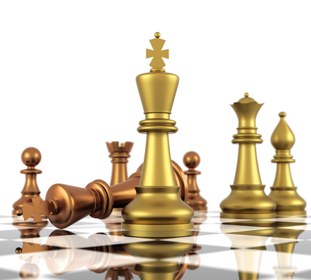 A game of chess comes to an end. The king is checkmated. Three Dimensional Rendering Stock Photo