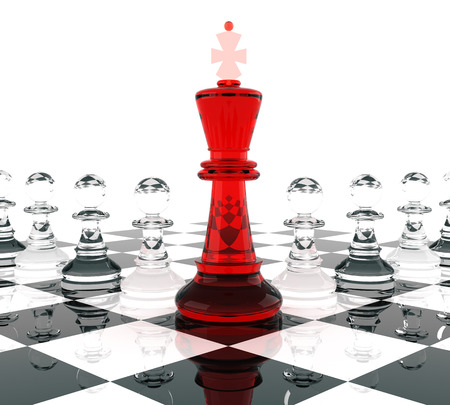 glass reflection: Chess King and Pawns, signifying leadership. Three Dimensional rendering.