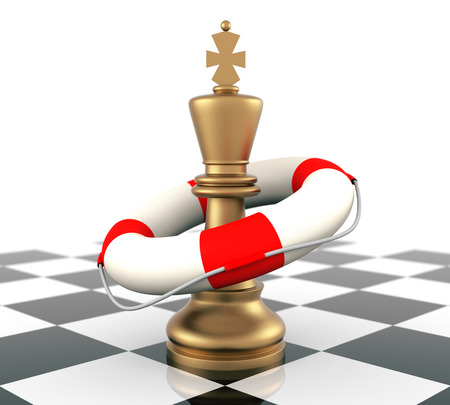 Chess King and Life Buoy. Three Dimensional rendering. photo