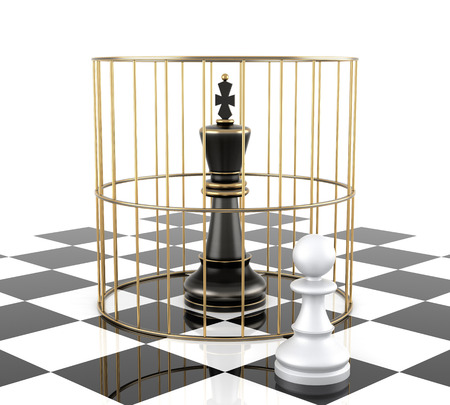 Chess King to Protect. Isolated On White. Three Dimensional Rendering