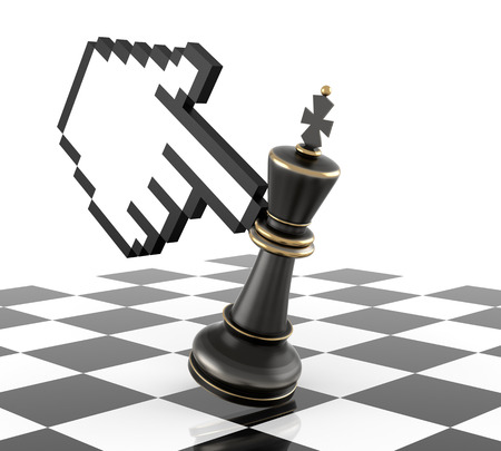 Cursor Hand and Defeat Chess King. Three Dimensional Rendering photo