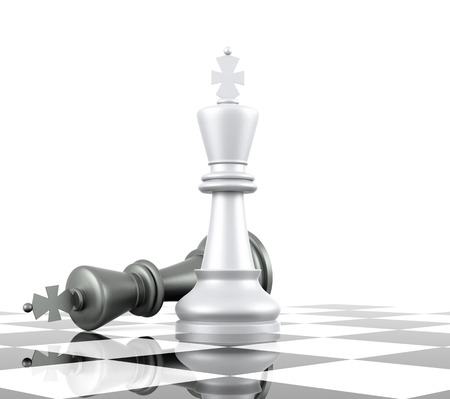A game of chess comes to an end. The king is checkmated. Three Dimensional Rendering Reklamní fotografie