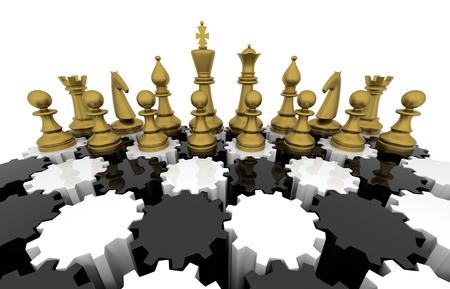 Chess board with gears. Three Dimensional rendering. photo