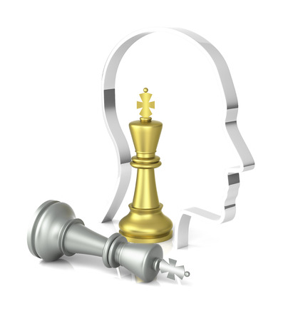 chrome man: A game of chess comes to an end. The king is checkmated. Three Dimensional Rendering Stock Photo