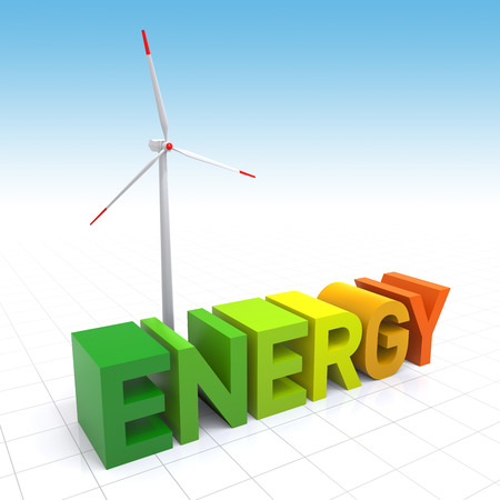 digitally generated image: Wind Turbine and 3D Energy text. Digitally Generated Image.
