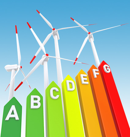 Energy Efficiency Bar Chart and Wind Turbine. Digitally Generated Image.