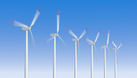 digitally generated image: Motion blurred propeller of a wind turbines. Digitally Generated Image.
