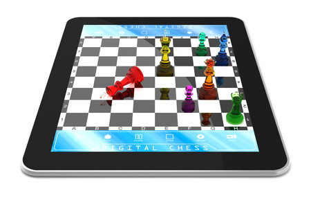 double game: Double player chess game on digitaltablet with Three Dimensional chess pieces. Stock Photo