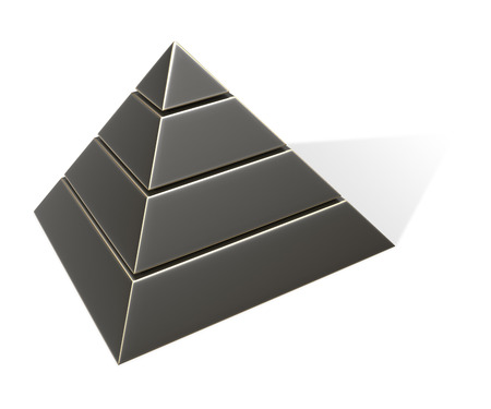 three layered: Black aged Pyramid. 3D Rendering. Isolated on white. Stock Photo