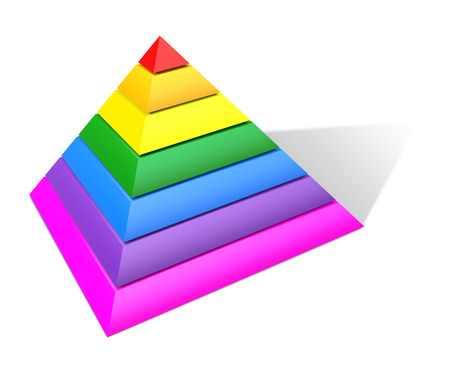 three layered: Multicolored Pyramid. 3D Rendering. Isolated on white. Stock Photo