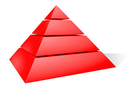 three layered: Red Pyramid. 3D Rendering. Isolated on white. Stock Photo