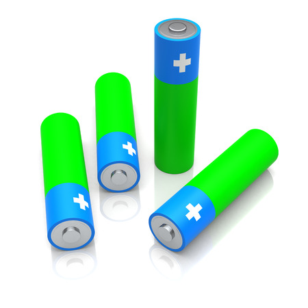 image size: AA size batteries on white background. Digitally Generated Image.