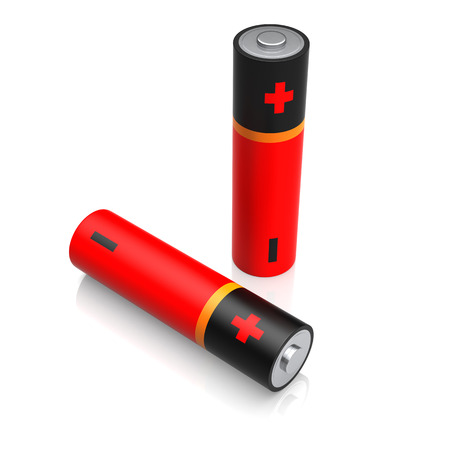 digitally generated image: AA size batteries on white background. Digitally Generated Image.