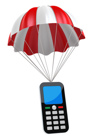 digitally generated image: Generic Mobile Phone and Parachute. Digitally Generated Image. Stock Photo