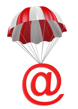 Parachute met @ Symbool. 3D Digitaal beeld. Stockfoto