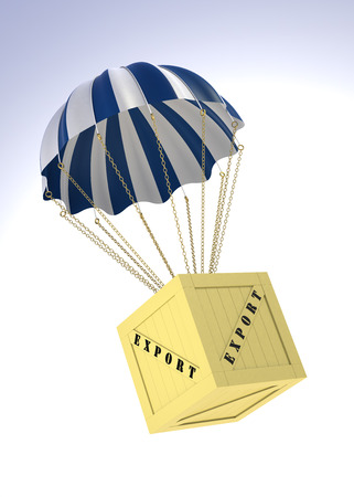 digitally generated image: Export Box and Parachute. 3D Digitally Generated Image.