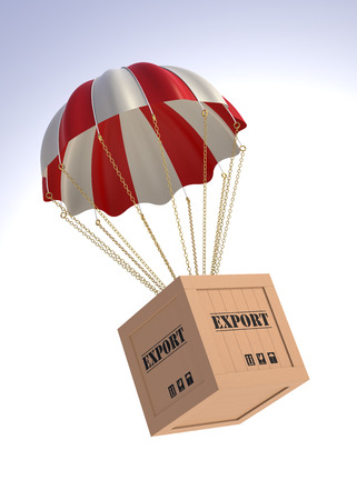 ��digitally generated image�: Export Box and Parachute. 3D Digitally Generated Image.
