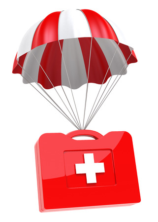 First Aid Case and Parachute on white background. Isolated 3D image photo